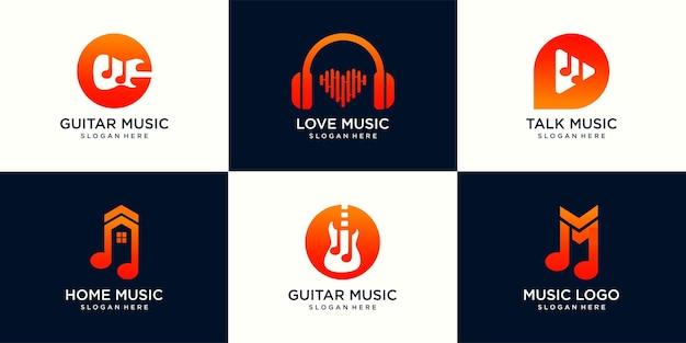 Set van creatieve muziek logo. voor moderne business bedrijf merk logo ontwerp vectorillustratie.