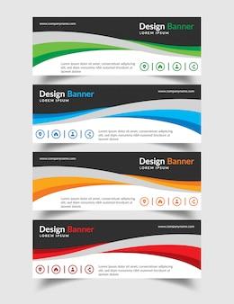 Set van creatieve platte banner ontwerpsjabloon