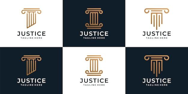 Set van creatieve rechtvaardigheid juridische advocaat logo sjabloon Premium Vector