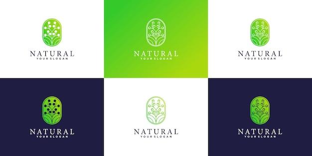Set van creatieve schoonheidsbloem logo-ontwerpinspiratie premium vecto