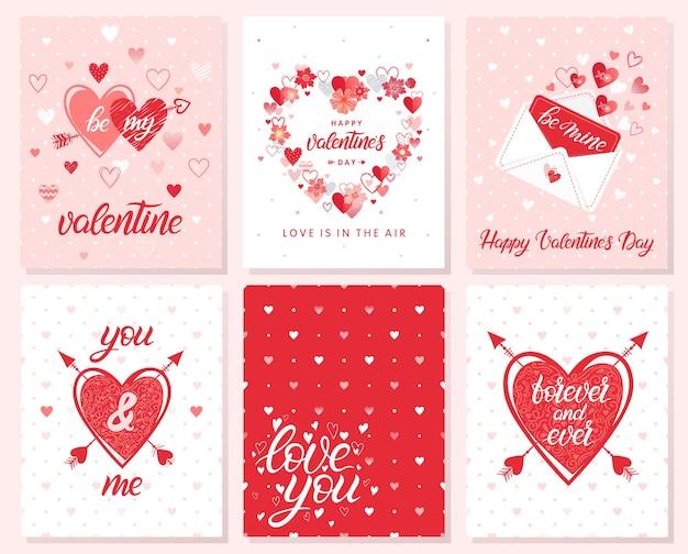 Set van creatieve valentijnsdag kaarten.