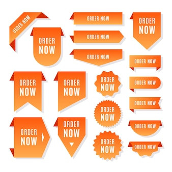 Set van creatieve volgorde nu labels