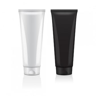 Set van crème buis pictogramserie. sjabloon cosmetische buis close-up. mock-up voor branding en adverteren