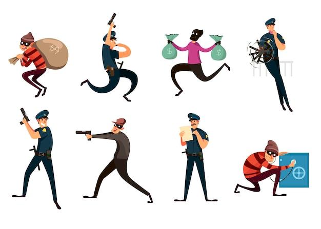 Set van criminele en politieagent op witte achtergrond. cartoon afbeelding