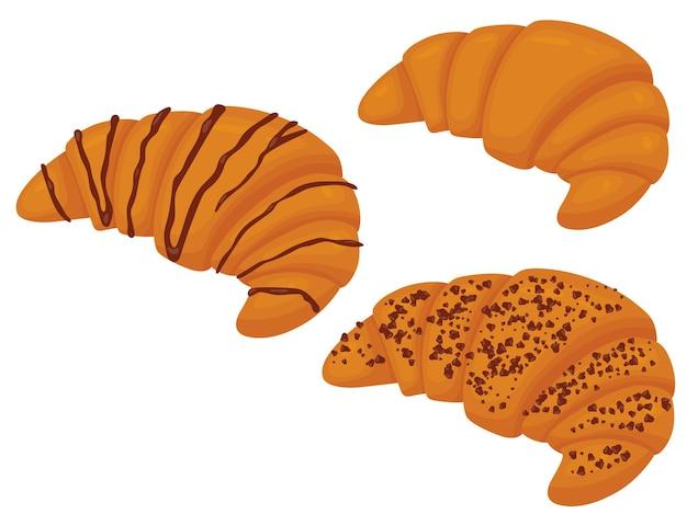 Set van croissant met chocolade vectorillustratie van zoete gebakjes geïsoleerd op een witte achtergrond