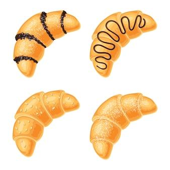 Set van croissants met chocolade, noten en poedersuiker bereik, geïsoleerd op wit