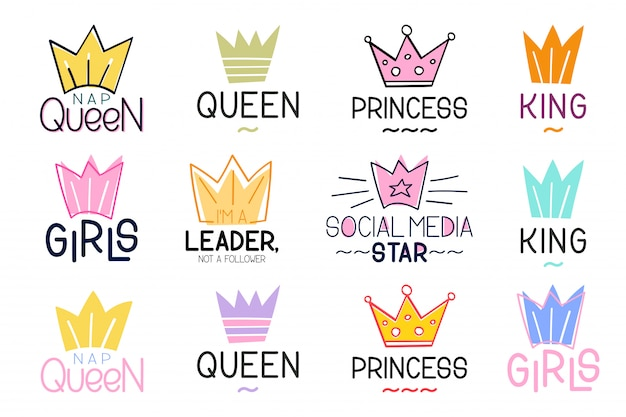 Set van crown en belettering inspirerende citaat
