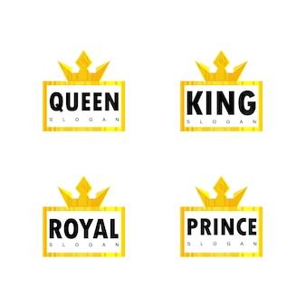 Set van crown typografie logo ontwerp