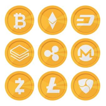 Set van cryptocurrency-pictogrammen voor internetgeld. blockchain gebaseerd veilig. geïsoleerd vectorteken. belangrijkste cryptocurrency-munten