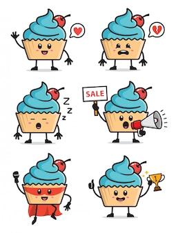 Set van cupcake characterdesign