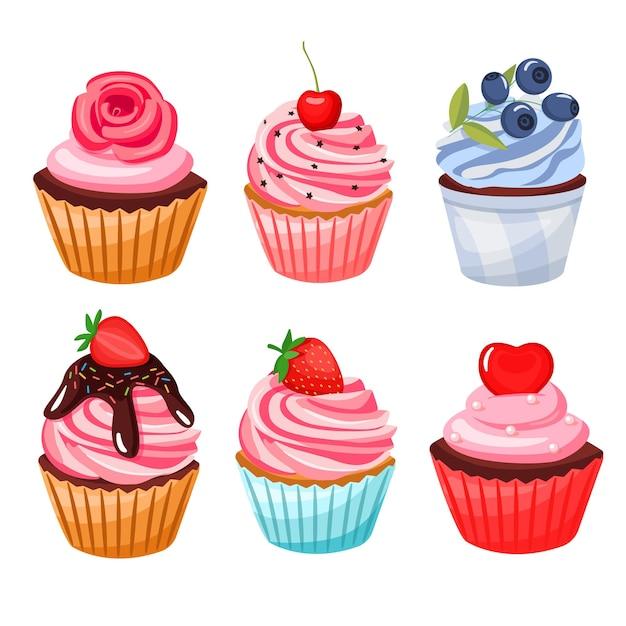Set van cupcake, gebak. in cartoon-stijl
