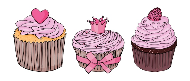 Set van cupcakes. cupcake met roze crème en hartroze; cupcake met kroon en roze strik; chocolade cupcake met roze room en frambozen op een witte achtergrond