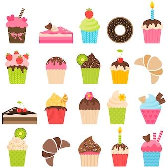 Set van cupcakes en stukjes cake