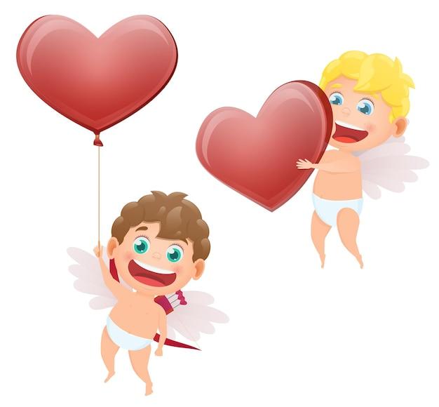 Set van cupido's van engelen voor valentijnsdag
