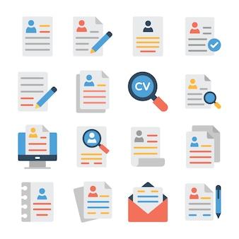 Set van curriculum vitae lijn iconen