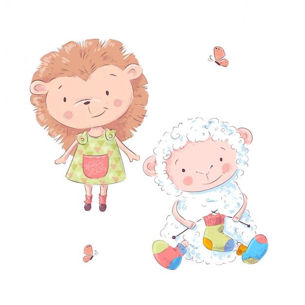 Set van cute cartoon egel en schapen voor kinderen illustratie