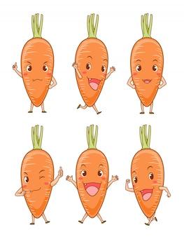 Set van cute cartoon wortelen in verschillende poses.