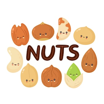 Set van cute gelukkig noten geïsoleerd op wit