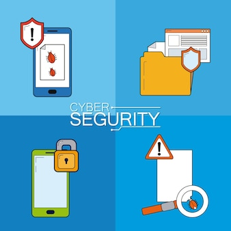 Set van cyber-beveiligingspictogrammen