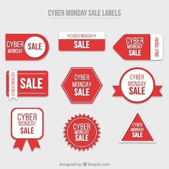 Set van cyber maandag rode stickers