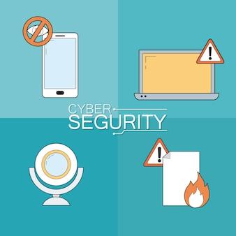 Set van cyberbeveiliging iconen collectie