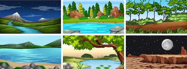 Set van dag en nacht scènes of achtergrond van de natuur