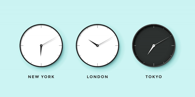 Set van dag- en nachtklok voor tijdzones verschillende steden