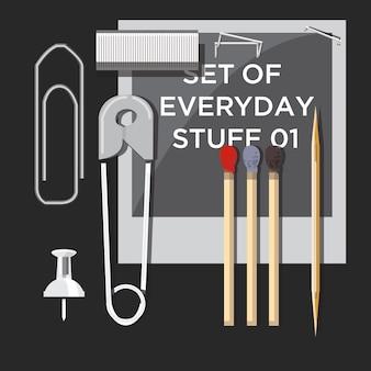 Set van dagelijkse dingen