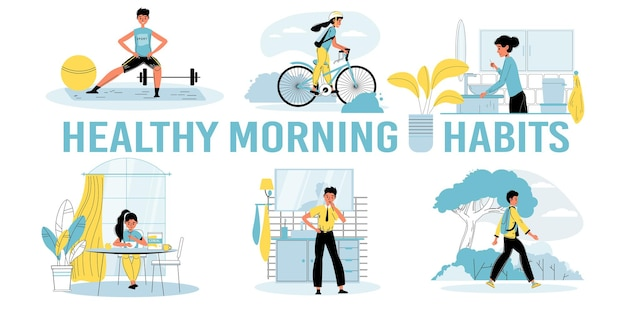 Set van dagelijkse gezonde ochtendgewoonten voor kinderen vectorillustraties