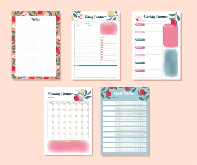 Set van dagelijkse wekelijkse maandelijkse gewoonte-tracker met aquarel appel ontwerp illustratie