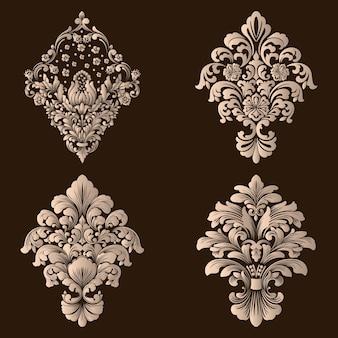 Set van damast decoratieve elementen