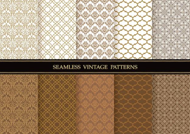 Set van damast vintage naadloze vector patronen. horizontaal en verticaal herhaalbaar.