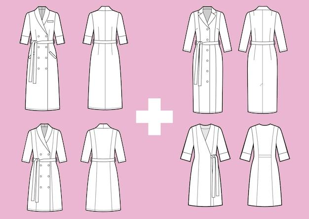 Set van dames medische witte jurk technische schets