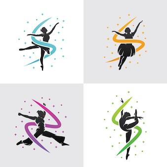 Set van dansen logo sjabloonontwerp
