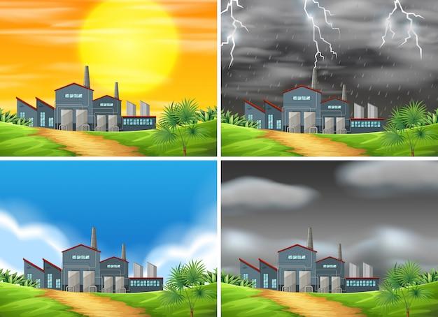 Set van de fabriek in verschillende weersomstandigheden