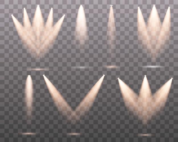 Set van de geel witte spot schijnt op het podium, scène, podium. exclusief gebruik lensflitslichteffect van een lamp of spot.