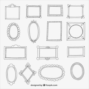 Set van de hand getekende frames