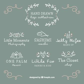 Set van de hand getekende logo's voor verschillende soorten winkels