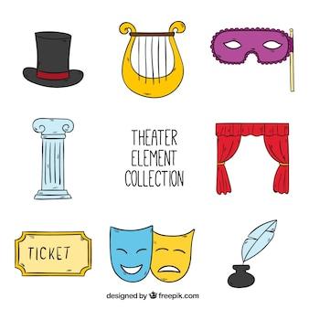 Set van de hand getekende objecten theater Gratis Vector