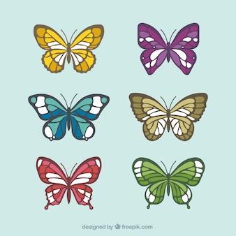Set van de hand getekende vlinders
