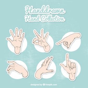 Set van de hand schetsen en gebarentaal