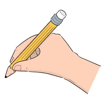 Set van de hand schrijven met potlood