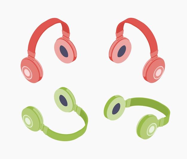 Set van de isometrische gekleurde hoofdtelefoons