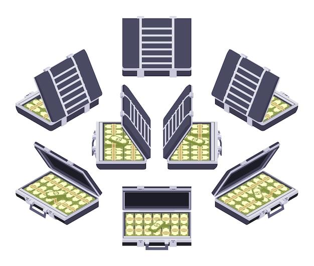 Set van de isometrische open aktetassen met het geld
