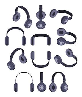 Set van de isometrische zwarte hoofdtelefoon