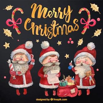 Set van de kerstman aquarel tekens met geschenken