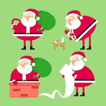 Set van de kerstman. grappig stripfiguur.