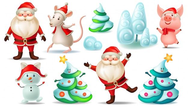Set van de kerstman, kerstboom, rat, varken.
