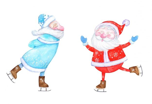 Set van de kerstman, twee santa's, aquarel