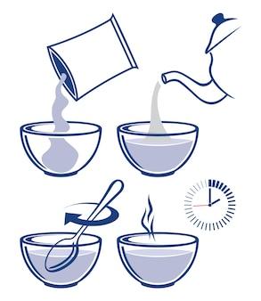 Set van de kookinstructie voor het bereiden van havermout